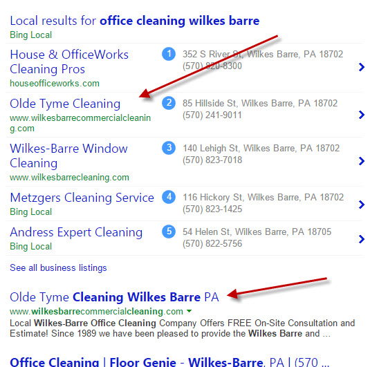 Top search positions on Bing for both map and organic listings.
