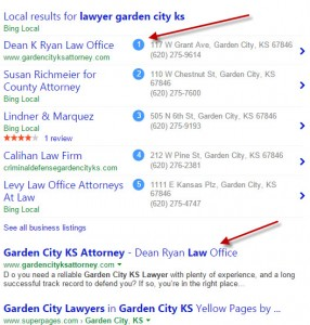 More top Bing search positions. This client has dozens of listings like this!